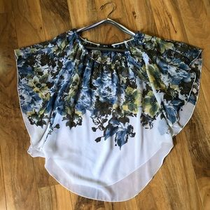 Beautiful Floral Sheer Cover/Pullover Top-Size L